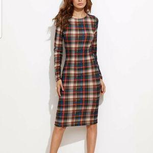 Shein Sz: L flannel feel plaid fitted dress